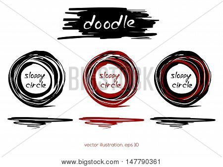 Hand drawn scribble shape. Three sloppy circle on a white background. Vector design element