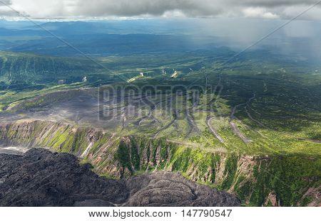 Caldera volcano Maly Semyachik. Kronotsky Nature Reserve on Kamchatka Peninsula. View from helicopter.