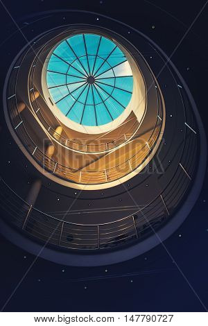 Abstract detail of architectural interior round staircase and glass roof at the top of elegant business office building interior