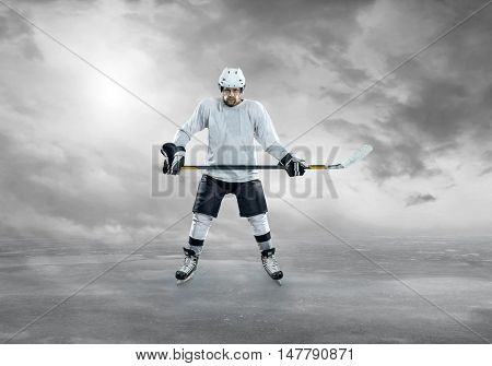 Ice hockey player before action on the ice
