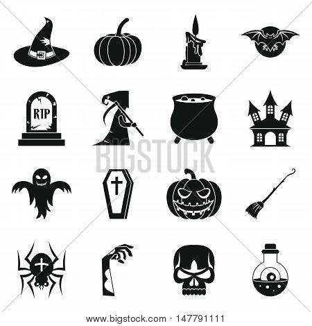 Halloween icons set in simple style. Halloween elements set collection vector illustration