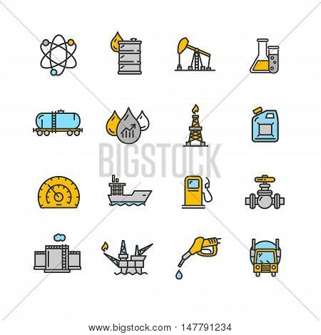 Oil Industry Outline Icon Color Set Pixel Perfect Art. Material Design. Vector illustration