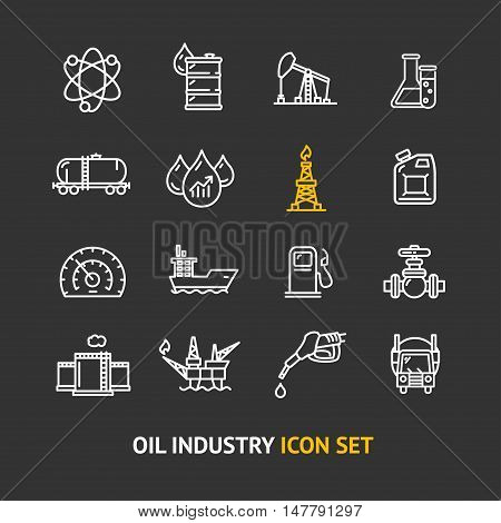 Oil Industry Outline Icon Set on a Black Background Pixel Perfect Art. Material Design. Vector illustration
