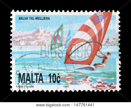 MALTA - CIRCA 1991 : Cancelled postage stamp printed by Malta, that shows  Wind surfer.