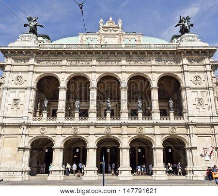 VIENNA, AUSTRIA - September 3, 2016: Facade of the State Opera in Vienna Austria