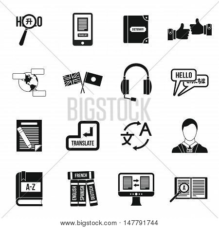 Learning foreign languages icons set in simple style. Language interpreter set collection vector illustration