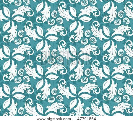 Floral ornament. Seamless abstract classic pattern with flowers. Blue and white pattern