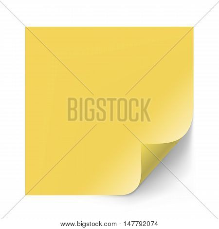 Vector yellow sticker paper note for memo and notice. Sticky page with curl. Blank with shadow isolated on white background.