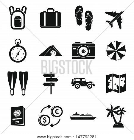 Travel icons set in simple style. Tourism elements set collection vector illustration