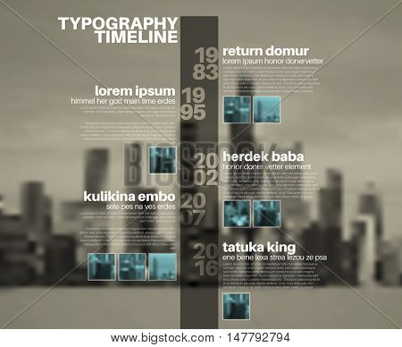 Vector Infographic typographic timeline report template with the biggest milestones, photos, years and description on blurred city background
