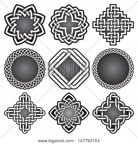 Set of logo templates and frames in Celtic knots style. Tribal tattoo symbols package. Nine silver ornaments for jewelry design. Monochrome logos design elements.