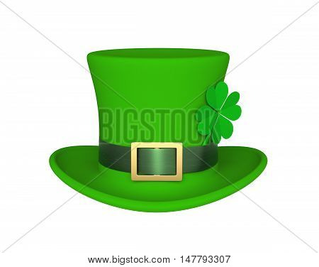 Lucky green hat with clover for Saint Patrick's Day isolated on white. 3D rendering