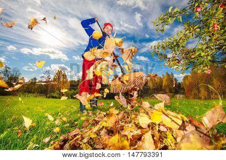 Middle Aged Woman Raking Leaves