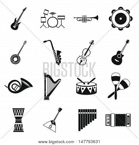 Musical instruments icons set in simple style. Orchestra instruments set collection vector illustration