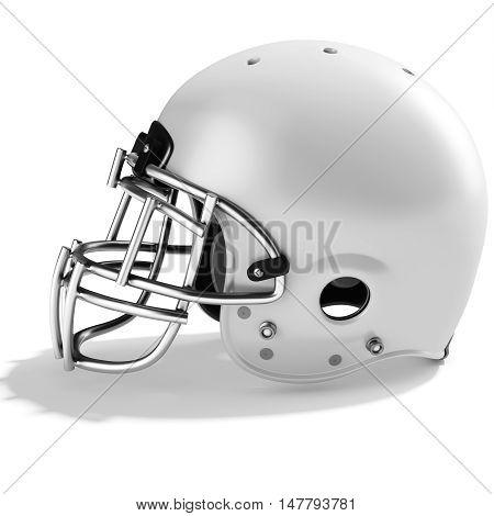 3D White American Football Helmet
