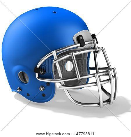 3D Blue American Football Helmet