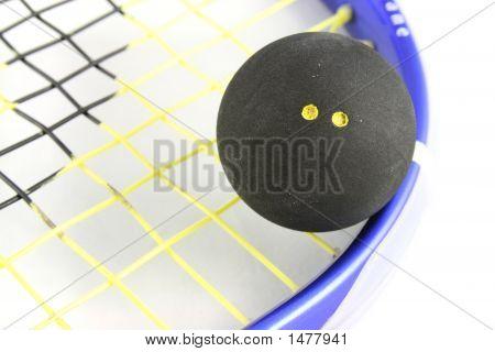 Squash-Ball auf Schläger