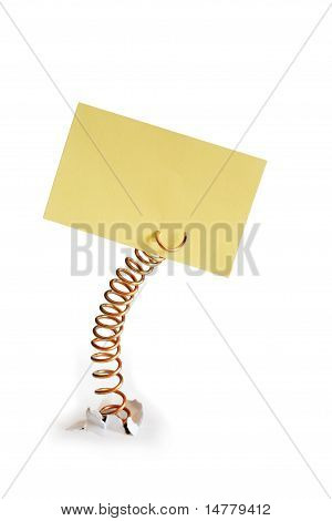 Metal Spring With Yellow Note Pad