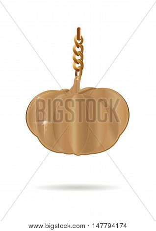 Golden pumpkin. Gold pendant in the form of a pumpkin on a gold chain. Vector illustration