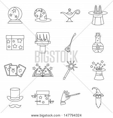 Magic icons set in outline style. Magician tools set collection vector illustration