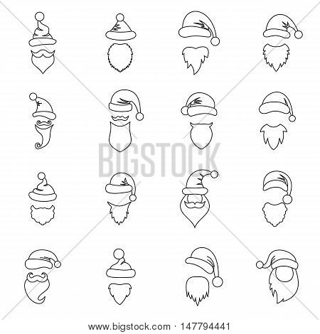 Santa hats, mustache and beards icons set in outline style. Christmas elements set collection vector illustration