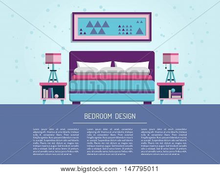 the interior of bedroom with bed, mattress, table lamp and pillows, painted in a flatstyle. Interior decorating