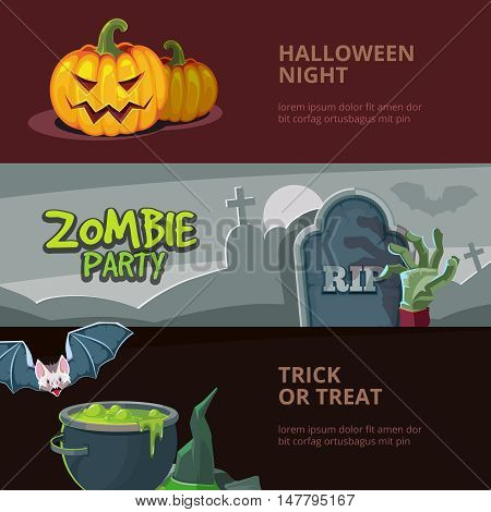 Three horisontal banners with vector illustrations of halloween, isolate on dark background. Design for party invitation with place for your text.
