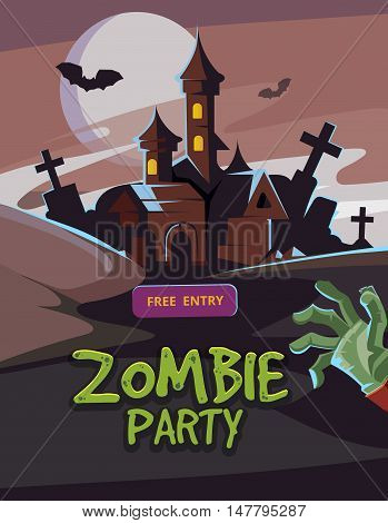 Zombie party vector illustration. Dead Man arm from the ground and dark castle. Invitation for halloween nigt