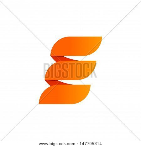 Abstract geometric letter e logo design vector, orange flat three parallel elements brand, creative trendy energy elegant beauty logotype design