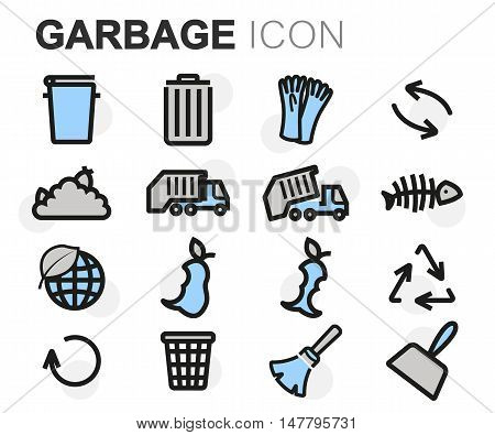 Vector flat line garbage icons set on white background