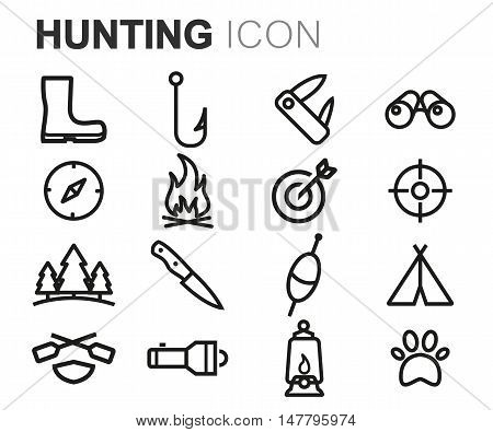 Vector black line hunting icons set on white background