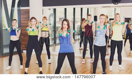 Female training. Group of young women in fitness club making exercises for strong hands with dumbbells. Healthy lifestyle, slim sporty girls do aerobics