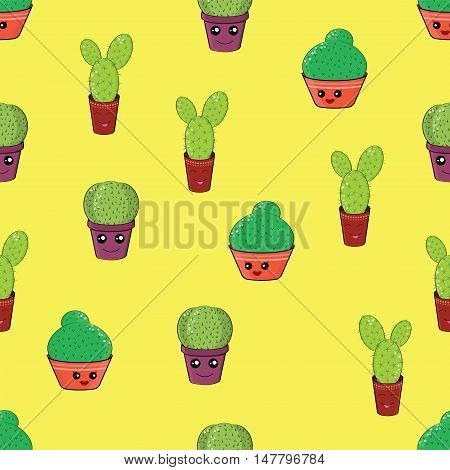 Seamless Pattern With Funny Cactus