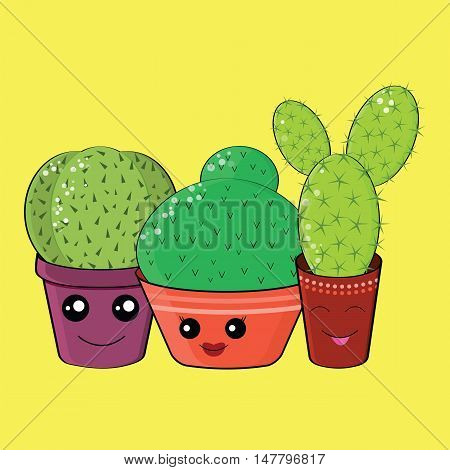 Hilarious Family Of Cacti On A Yellow Background