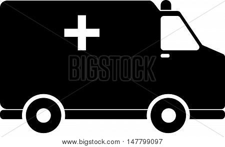 Simple Black Ambulance Car Icon with Sirene
