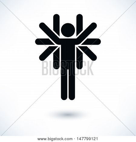 Logotype people black man figure with many hands in flat style. Simple silhouette sign with gray shadow isolated on white background. Graphic design elements in vector illustration 8 eps