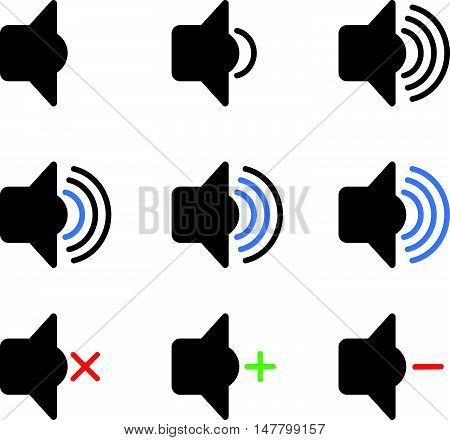 Set of Audio Speaker Volume or Music Icons