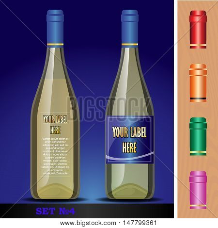 Vector wine bottles mockup with your label here text. Blue bottle and yellow wine. Red, orange, green and pink caps