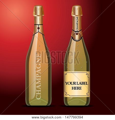 Vector wine bottles mockup with your label here text. Golden bottle, champagne wine with gold caps