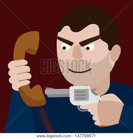 Man aim gun to phone handset. Funny cartoon colorful vector illustration