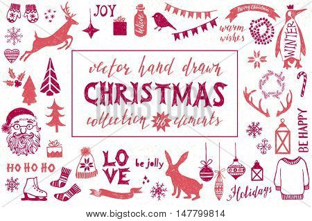 Colorful hand drawn Christmas design elements