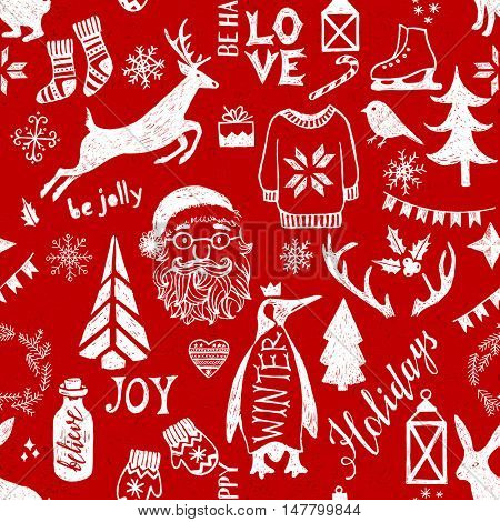 Hand drawn Christmas seamless pattern on red background