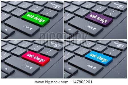 Keyboard With Web Design Button