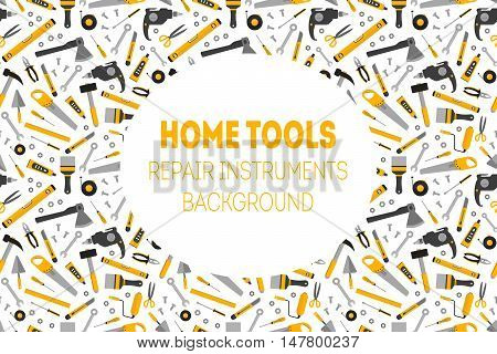 Flat working home tools background. Construction and home repair instruments. Hand drill glue screwdriver saw and pliers level hammer and scissors. Vector
