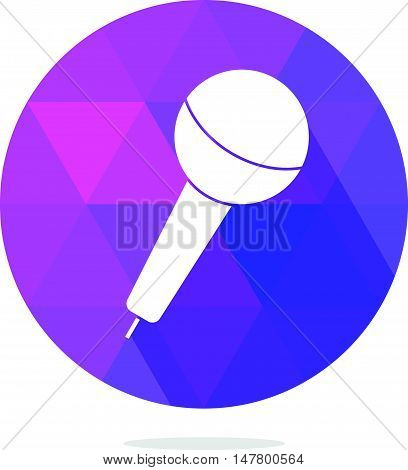 Modern Low Poly Microphone Icon with Long Shadow