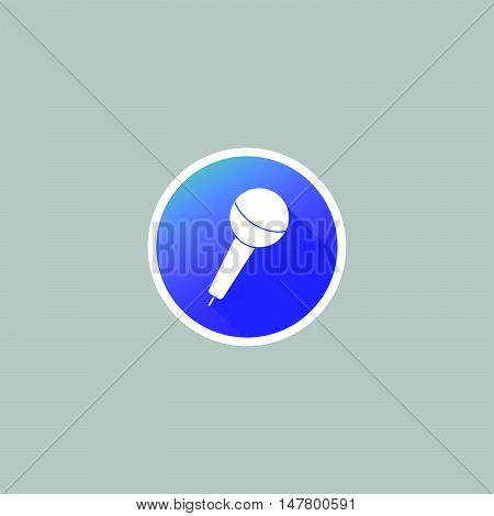Modern Round Microphone Icon with Long Shadow