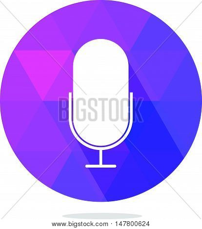 Modern Low Poly Microphone or Pod Cast Icon with Long Shadow