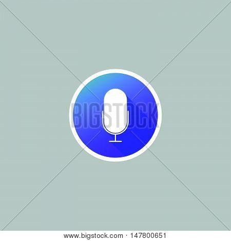 Modern Microphone or Pod Cast Icon with Long Shadow
