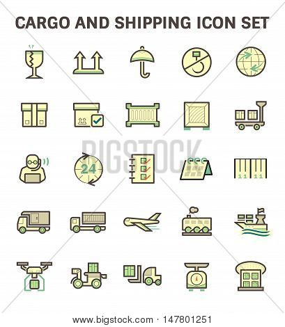 Cargo and shipping vector icon set, flat and color style.