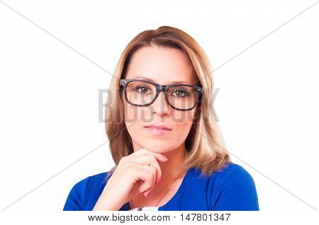 Portrait of pensive woman in glasses close-up isolated on white background